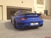 Matte Blue Vinyl Wrap Porsche 997 C4S Cab Techart Style Body Kit Bahrain