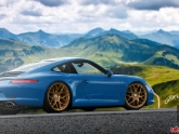 Porsche 991 Carrera Blue with Bronze HRE P40SC