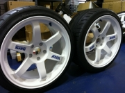 White Volk TE37 Wheels with Tires