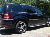 Mercedes Gl450 On Vossen Vvs-078 Wheels Stainless Face Black Insets And Stainless Lip 22x9 32mm 5x11