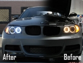 Before and After HID Angel Eye Install