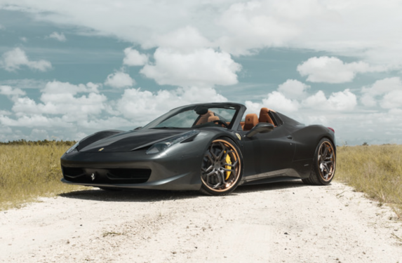 Ferrari 458 Spider, Velos Designwerks XX wheels, matte black, polished, candy paint