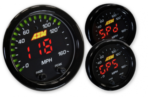 AEM X-Series, GPS, data logger, gauge, LED display, speedometer
