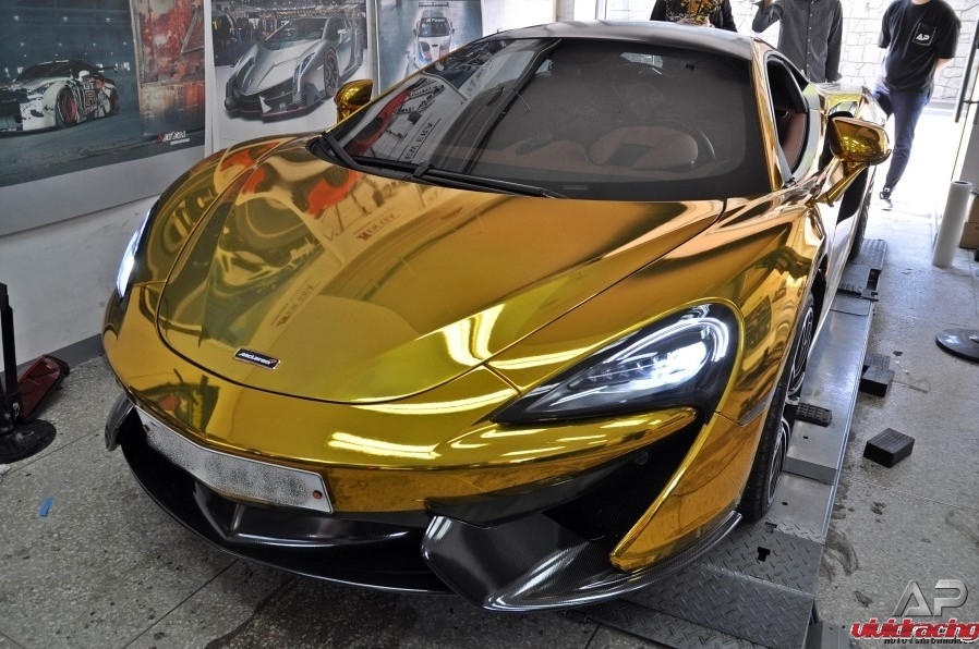 McLaren 570S, 650S, catback, downpipes, Armytrix, exhaust system, gold wrapped