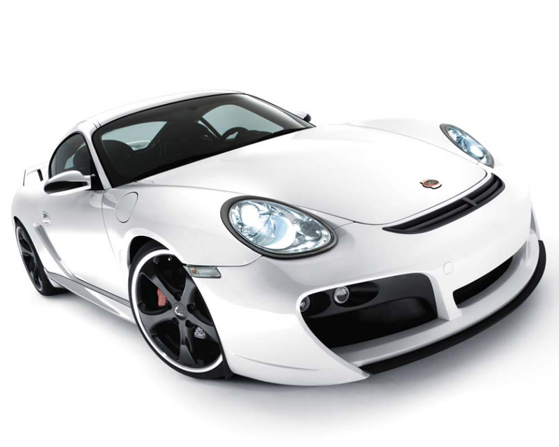 TechArt Front Spoiler Type 2 GTS with Chrome Running Lights Porsche Cayman 987.2 with OE DRL 10-13 - 087.100.125.009CHR