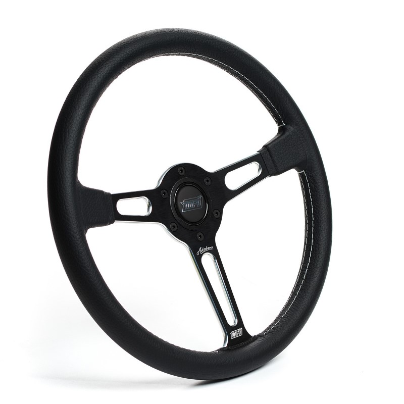 Detroit Speed Black Leather Steering Wheel MPI Autodromo 80 Series Black Center Post Machined Accents w-Horn - 092580M