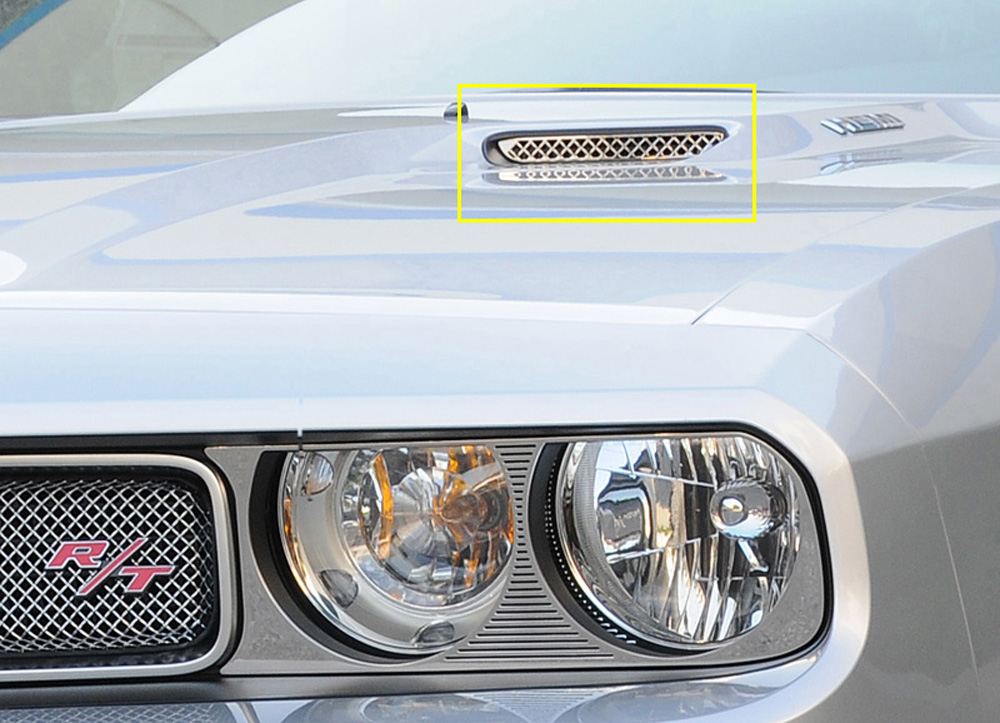 Challenger Hood Scoop Grille Insert Mesh Look 09-14 Dodge Challenger Stainless Polished 2 Piece T1 Series T-REX Grilles - 11417