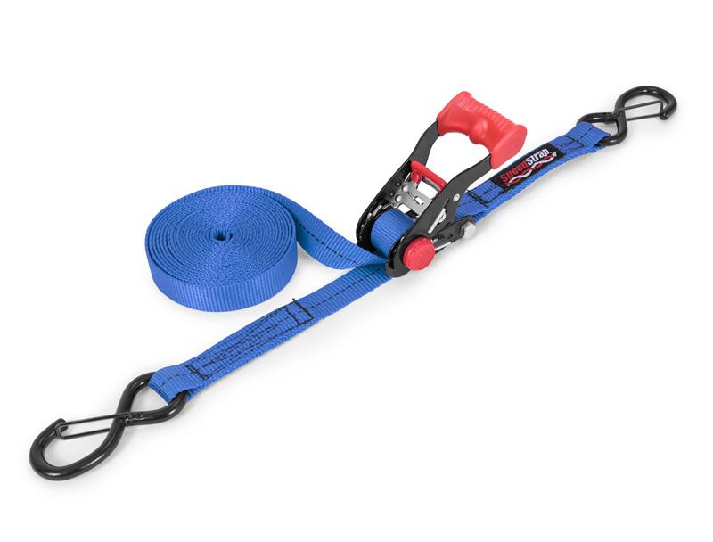 1 Inch x 15 Foot Ratchet Tie Down w/ Snap S Hooks Blue SpeedStrap - 11502