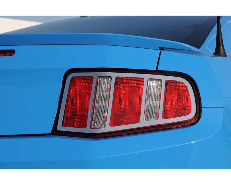 Mustang Tail Light Trim 10-12 Ford Mustang Stainless Polished 2 Piece T1 Series T-REX Grilles - 12518