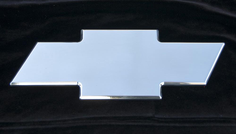 Chevy Grille Emblem 07-13 Chevrolet Tahoe/Suburban/Avalanche Billet Bow Tie Rear Plain 10.25 Inch Aluminum Polished T-REX Grilles - 19054