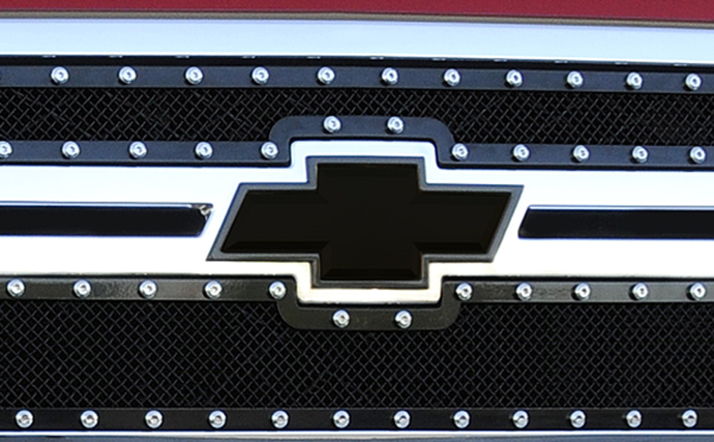 Silverado HD Grille Emblem 11-14 Chevrolet Silverado HD Chevy Bow Tie W/Borders Aluminum Powdercoat Black T-REX Grilles - 19114B