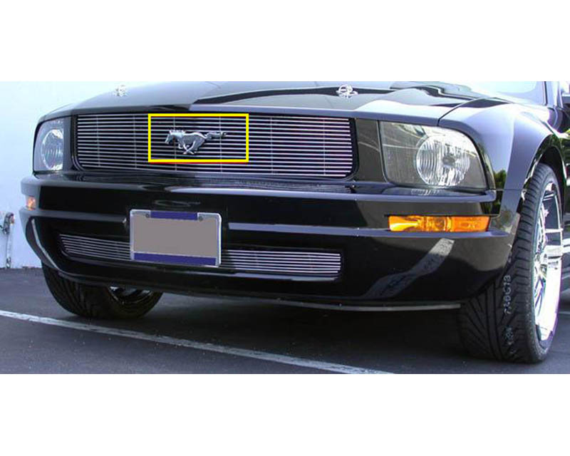 Mustang Grille Emblem 05-08 Ford Mustang For Remounting Factory Logo Mild Steel Powdercoat Black T-REX Grilles - 19515