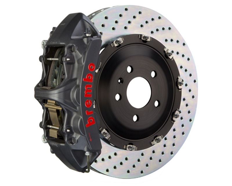 Brembo GT-S 380x34 6-Piston Black Hard Anodized Drilled Front Big Brake Kit - 1N1.9066AS