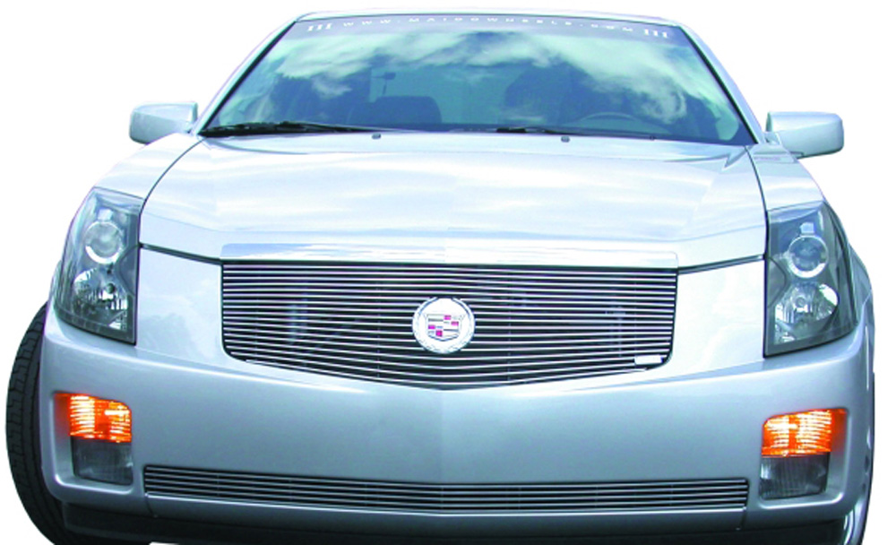 CTS Grille Overlay W/Center Billet Logo Plate 03-07 Cadillac CTS Aluminum Polished Billet Series T-REX Grilles - 20190