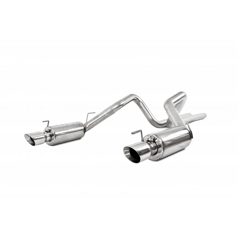 MBRP Dual Mufflers Cat Back Exhaust System Dual Split Rear Street Version T304 Stainless Steel 4 Inch Tips For 05-09 Ford Mustang GT 4.6L 07-10 Ford Shelby GT500 - S7269409