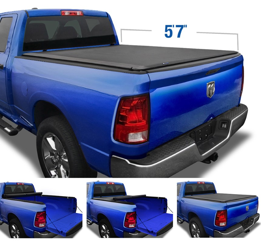 "Tyger Auto T1 Soft Roll Up Truck Bed Tonneau Cover (5'7"") Dodge Ram 1500 2009-2020 - TG-BC1D9018"