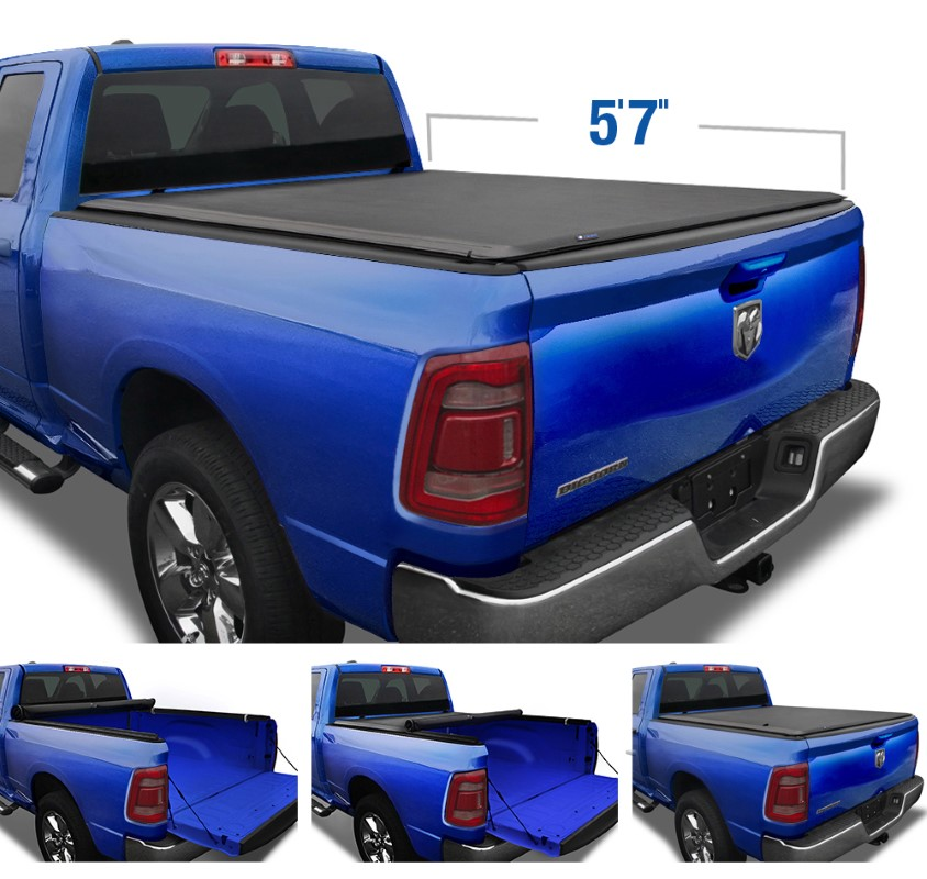 """Tyger Auto T1 Soft Roll Up Truck Bed Tonneau Cover (5'7"""") Ram 1500 2019-2020 - TG-BC1D9046"""