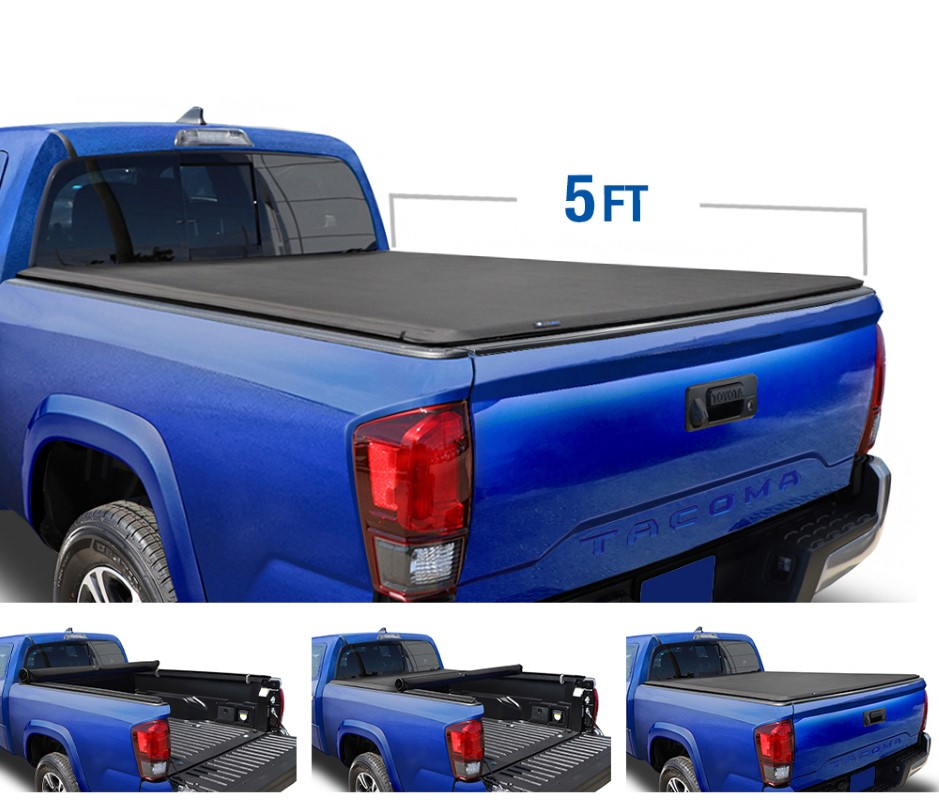 Tyger Auto T1 Soft Roll Up Truck Bed Tonneau Cover (5-Feet) Toyota Tacoma 2016-2020 - TG-BC1T9044