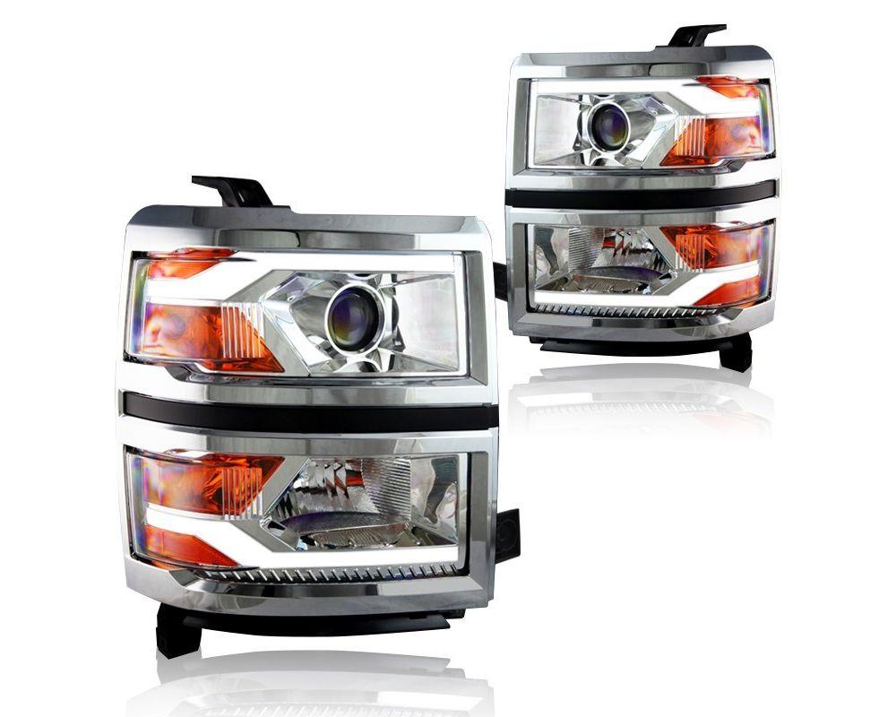 Winjet Chrome Clear LED Projector Head Lights Chevrolet Silverado 2014-2015 - WJ10-0382C-01