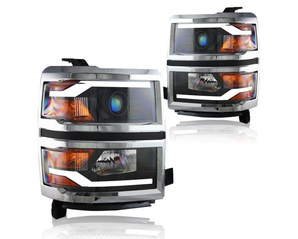 Winjet Black|Chrome LED Projector Head Lights Chevrolet Silverado 2014-2015 - WJ10-0382C-04
