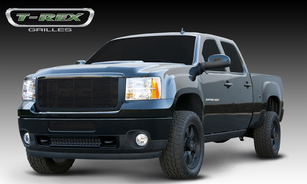Sierra HD Grille Overlay 11-14 GMC Sierra HD Aluminum Powdercoat Black Billet Series T-REX Grilles - 21209B