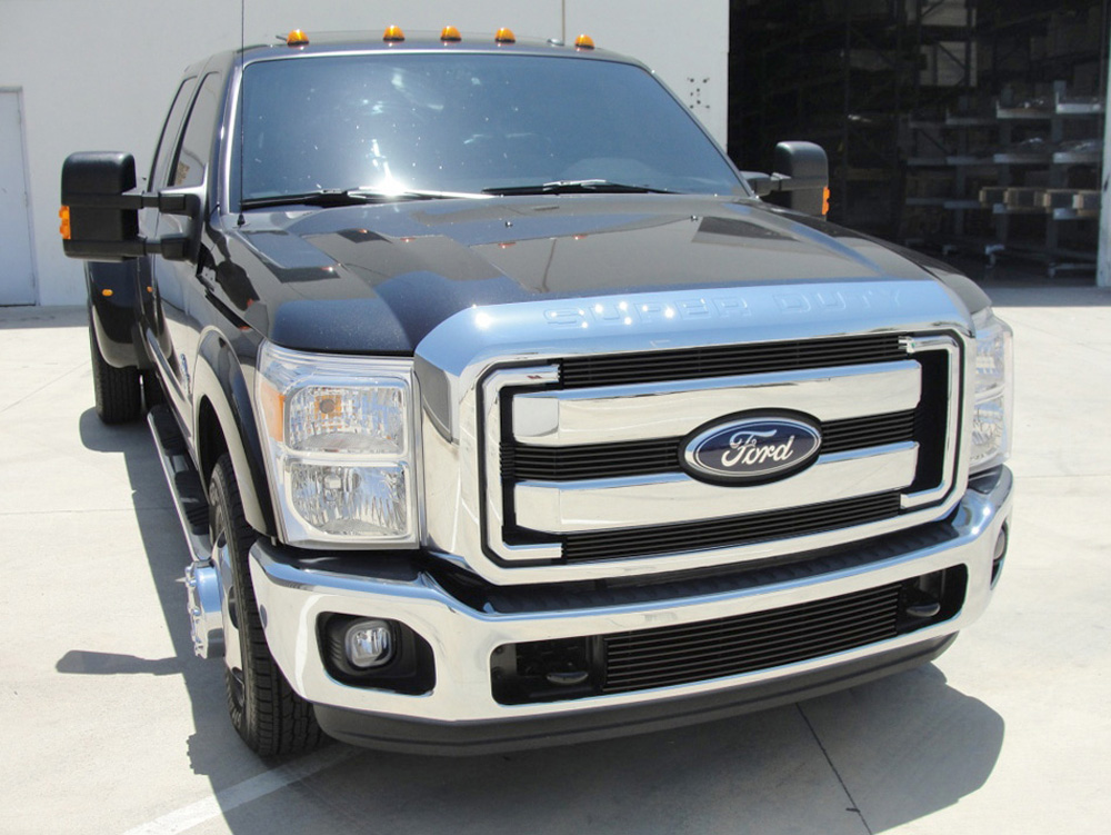 Super Duty Grille Overlay 11-16 Ford Super Duty Aluminum Powdercoat Black 4 Piece Billet Series T-REX Grilles - 21546B