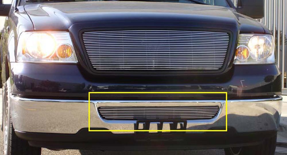 F150/Lincoln Mark LT Bumper Grille Bolt On 04-08 Ford F150/Lincoln Mark LT Aluminum Polished Billet Series T-REX Grilles - 25555