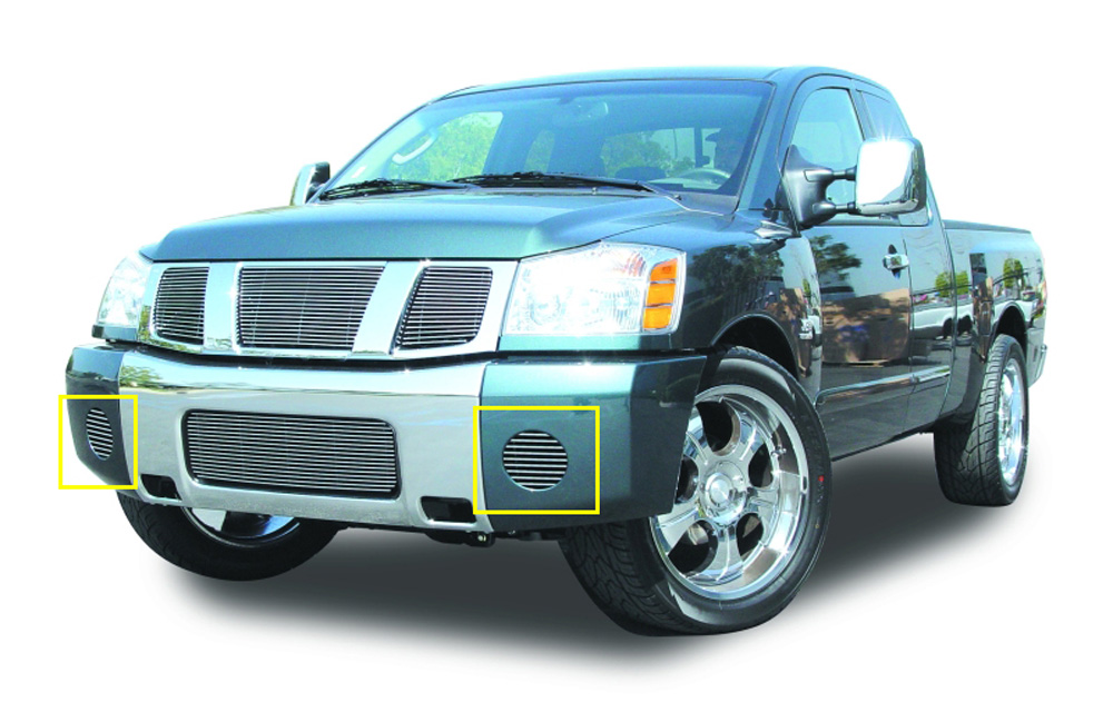 Titan Fog Light Grille 08-14 Nissan Titan Aluminum Polished 2 Piece Billet Series T-REX Grilles - 25781