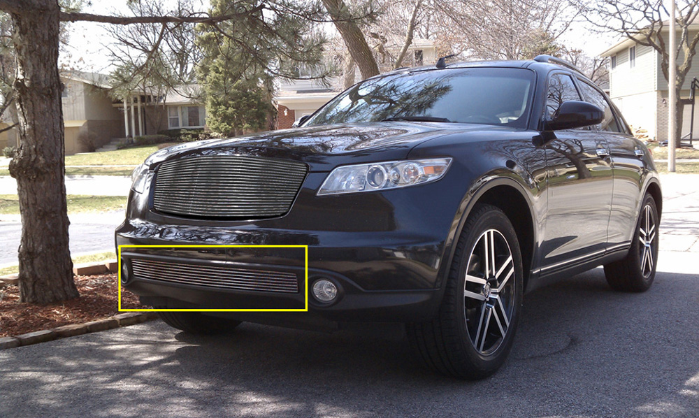 Infiniti FX Bumper Grille Insert 06-08 Infiniti FX Except Road Sensing Cruise Aluminum Polished Billet Series T-REX Grilles - 25801