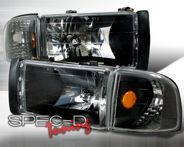 SpecD Black Housing Headlights Dodge Ram 94-01 - 2LCLH-RAM94JM-KS