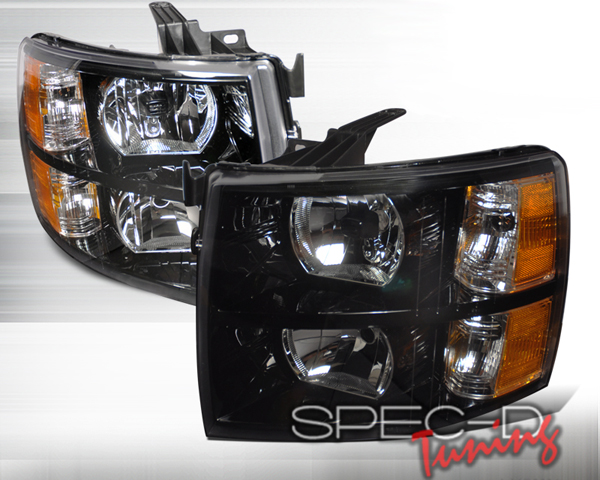 SpecD Black Housing Headlights Chevrolet Silverado 07-10 - 2LH-SIV07JM-DP