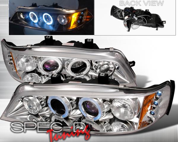 SpecD Chrome Halo LED Projector Headlights Honda Accord 94-97 - 2LHP-ACD94-TM