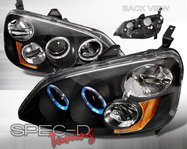 SpecD V1 Black Halo Projector Headlights Honda Civic 01-03 - 2LHP-CV01JM-KS
