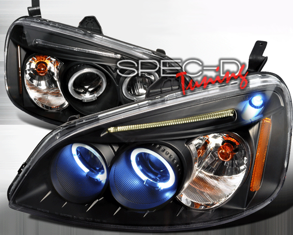 SpecD V2 Black Halo Projector Headlights Honda Civic 01-03 - 2LHP-CV01JM-TM