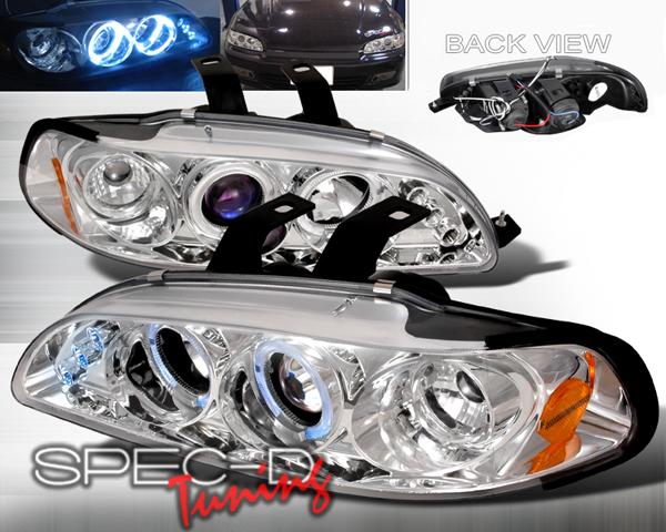 SpecD Chrome Halo LED Projector Headlights Honda Civic 92-95 - 2LHP-CV923-TM