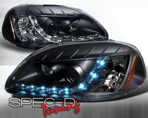 SpecD V1 Black R8 Style Projector Headlights Honda Civic 96-98 - 2LHP-CV96JM-8-TM