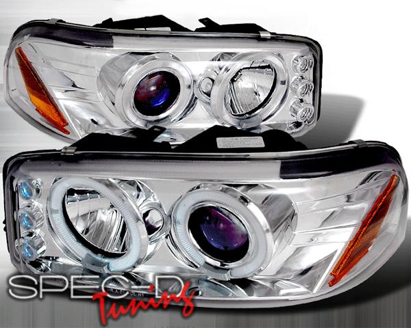 SpecD Chrome Halo LED Projector Headlights GMC Sierra 99-06 - 2LHP-DEN00-TM