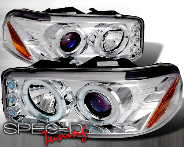 SpecD Chrome Halo LED Projector Headlights GMC Yukon 00-06 - 2LHP-DEN00-TM