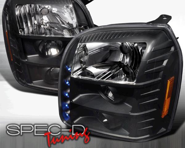 SpecD Black LED Projector Headlights GMC Yukon 07-10 - 2LHP-DEN07JM-TM