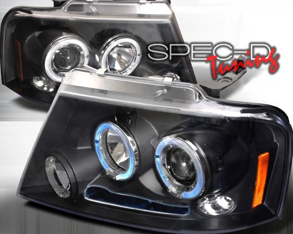 SpecD Black Halo LED Projector Headlights Ford F-150 04-08 - 2LHP-F15004JM-TM