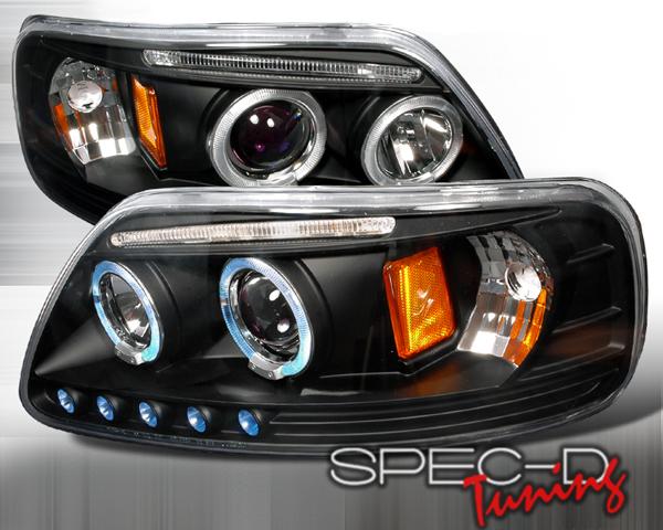 SpecD V2 Black Halo LED Projector Headlights Ford F-150 97-03 - 2LHP-F15097JM-TM