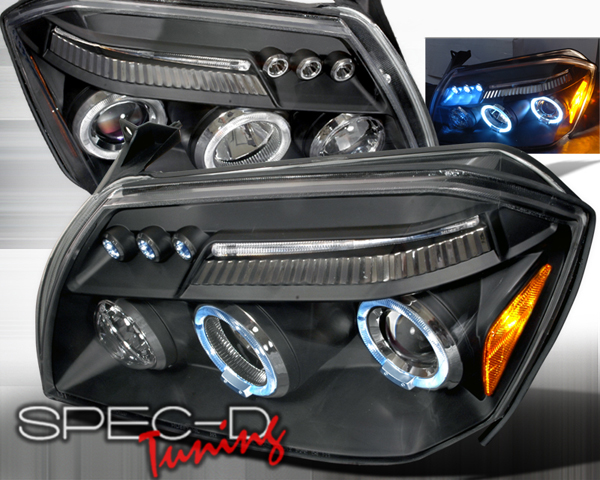SpecD V2 Black Halo LED Projector Headlights Dodge Magnum 05-08 - 2LHP-MAG05JM-TM