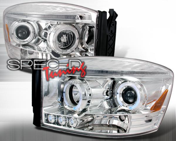 SpecD Chrome Halo LED Projector Headlights Dodge Ram 06-08 - 2LHP-RAM06-TM