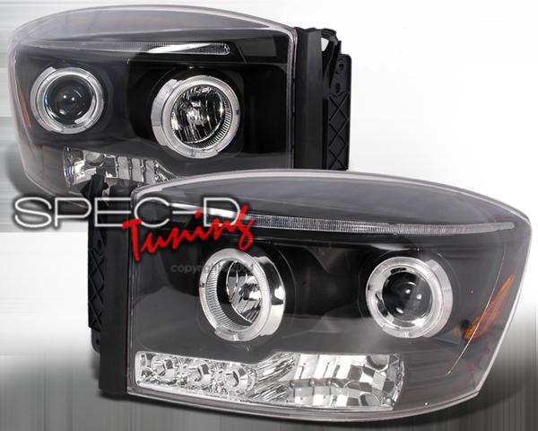 SpecD Black Halo LED Projector Headlights Dodge Ram 06-08 - 2LHP-RAM06JM-TM