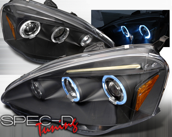 specd black halo led projector headlights acura rsx 02 04