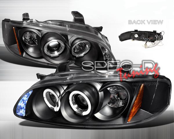 SpecD Black Halo LED Projector Headlights Nissan Sentra 00-03 - 2LHP-SEN00JM-TM