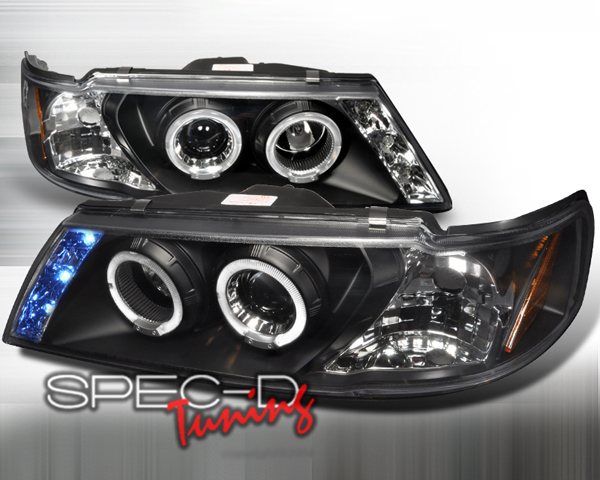 SpecD Black Halo LED Projector Headlights Nissan Sentra 95-99 - 2LHP-SEN95JM-TM