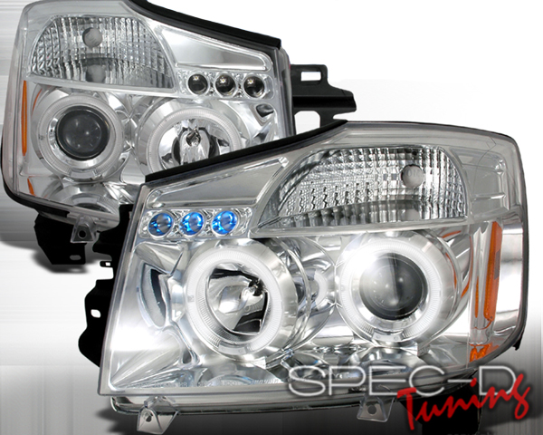 SpecD Chrome Halo LED Projector Headlights Nissan Armada 05-07 - 2LHP-TIT04-TM