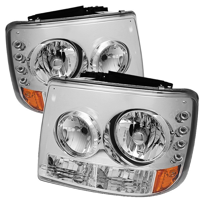 Spyder LED Crystal Headlights Chrome for Chevrolet Suburban 1500 00-06 - HD-YD-CS99-1PC-AM-C