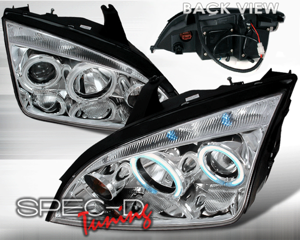 SpecD Chrome CCFL Halo LED Projector Headlights Ford Focus 05-07